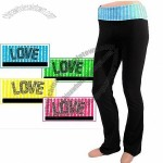 Prestige Yoga Pants with Folded Waistband and Love Sequins