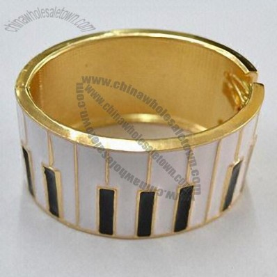 Printed Piano Gold-plated Metal Bangles
