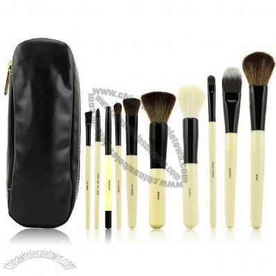 Professional 10 Pcs Cosmetic Makeup Brush Kit with Black Beauty Cosmetic Bag