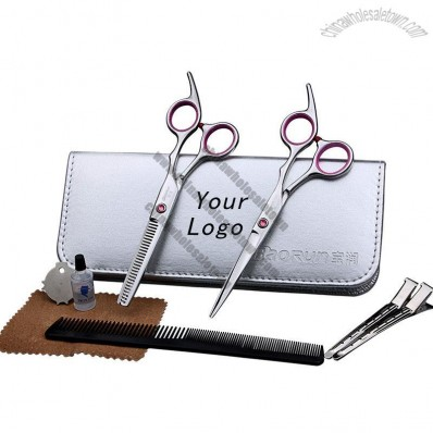 Professional Hairdressing Scissors Set with Comb, Clip, Oil