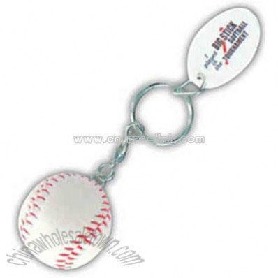 Promotional Baseball - Mini Sports Stress Ball Key Tag