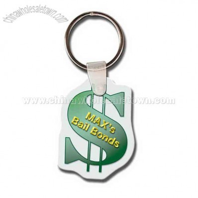 Promotional Dollar Sign Shape Soft Vinyl Key Tag