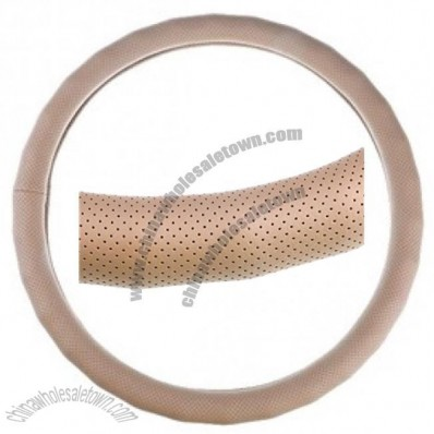 Pu Leather Steering Wheel Cover With Holes & Wave-shaped Contour Beige