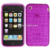 Purple Rectangle Crystal Silicon Skin Case for iPhone 3G/ 3GS