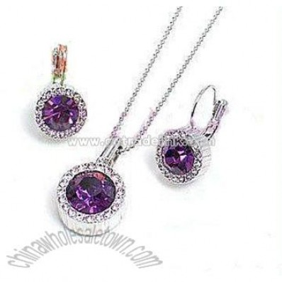 Purple Zircon Rhinestone Necklace Set