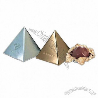 Pyramid Shaped Box with one Belgian Chocolate Candy Truffle