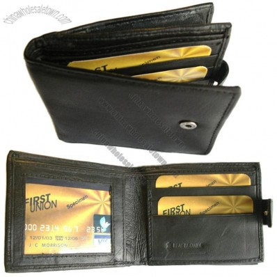 Quality Mens Real Leather Wallet with side zip pocket