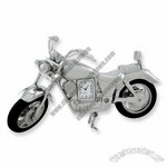 Quartz Movement Silver Tone Motorcycle Desk Clock