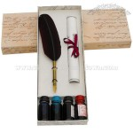 Quill Feather Pen Set with 4 Bottles of Ink