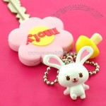 Rabbit Mofy Mascot Key Cover Ball Chain (Flower)