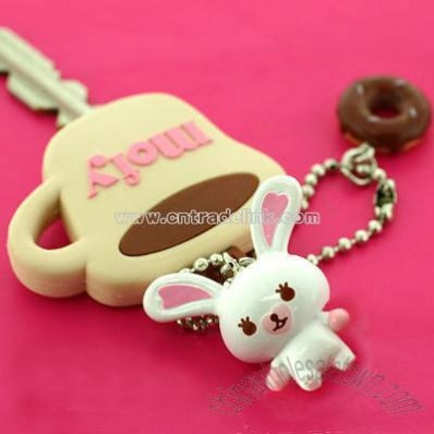 Rabbit Mofy Mascot Key Cover Ball Chain (Tea cup)