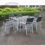 Rattan Patio Set with One Table + Six Chairs