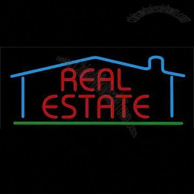 Real Estate neon sign with red letters and color border