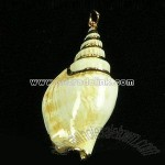 Real Shell Pendant with Gold Binding