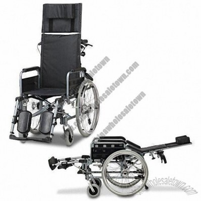Reclining Aluminum Wheelchair with Anti-tippers, Waterproof Nylon Seat and Backrest