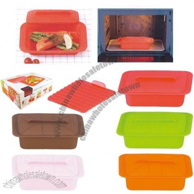 Rectangle Silicone Steamer with Lid