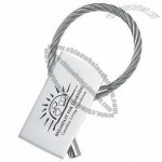 Rectangle shaped nickel finish key tag with wire cable