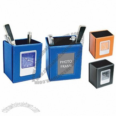 Rectangular 3 In 1 Leather Pen Holder with Clock and Picture Frame