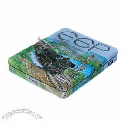 Rectangular Shaped CD/DVD Tin Can Case with Slip on Lid
