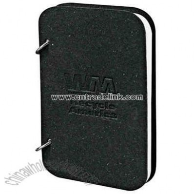 Recycled black bound leather ring jotter