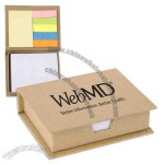 Recycled memo case filled with sticky pad, flags and non-adhesive memo paper