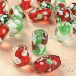 Red, Green & White Glass Bead Mix