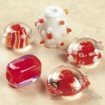 Red & White Lampwork Glass Bead Mix
