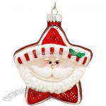 Red And White Santa Star Glass Ornament