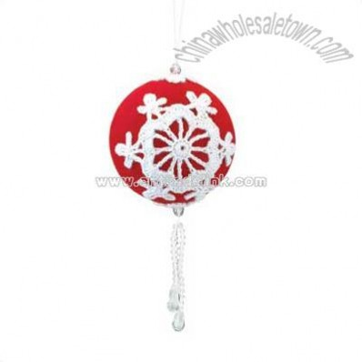 Red Christmas Ball Ornament with Dangling Beads