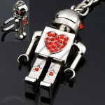 Red Heart Diamond Robot Shaped Keychain