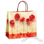 Red Petal Design Paper Carrier Bags with Cotton Handles