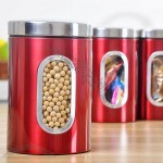 Red Stainless Steel Storage Canister - Tea Cans