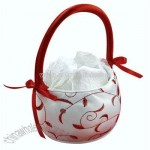 Red and White Flower Girl Basket