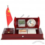 Redwood Desktop Stationery Set with Digital Calendar Clock, Memo Box, Globe, Flag Stand, Small Drawers, Desk Calendar