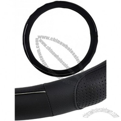 Reliable Leather Steering Wheel Cover Black