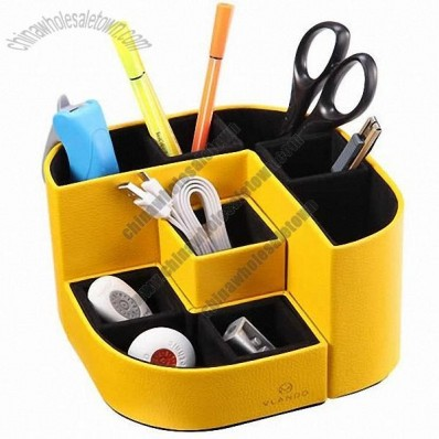 Removable Leather Desk Supplies Organizer Caddy