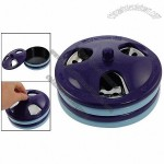 Removable Purple Silver Tone Lid Black Plastic Rotation Ashtray w Loop Detail