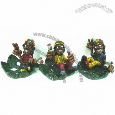 Resin Happy Rasta Man Ashtray