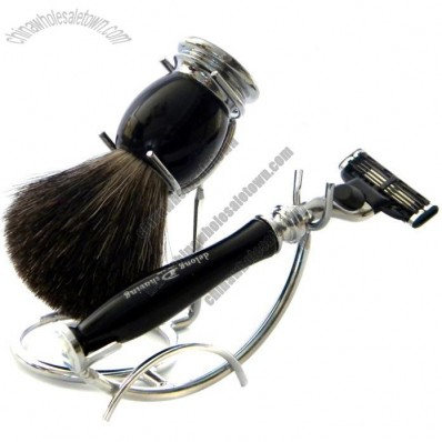 Resin Series Shaving Set with Black Badger brush and 3 Blades Razor