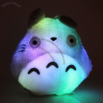 Rest Totoro Shape Travel Cotton LED Light Up Colorful Pillow Bed Sofa Gray
