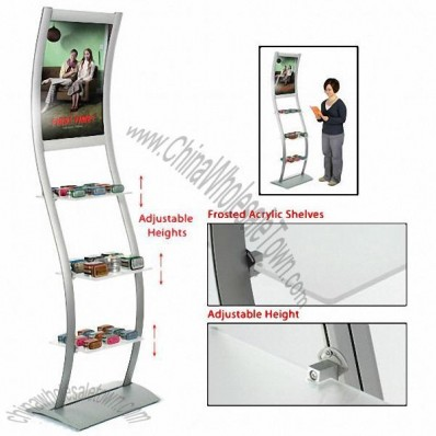 Retail Shelving, Image Holder w/ Frosted Acrylic Shelves