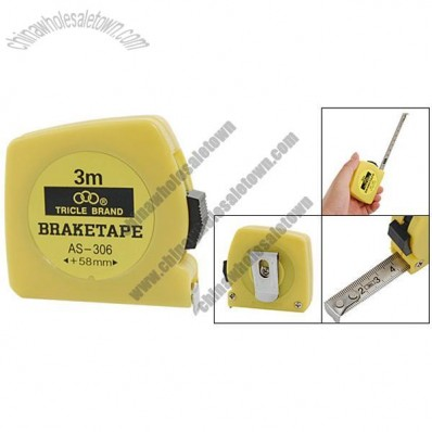 Retractable 3 Meters Yellow Plastic Housing Stainless Steel Blade Tape Measure