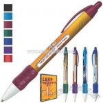 Retractable ballpoint message pen with six rotating messages and a grip
