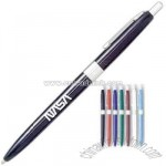 Retractable ballpoint pen with chrome trim