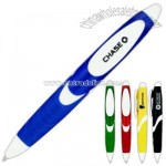 Retractable ballpoint pen with elongated grip.