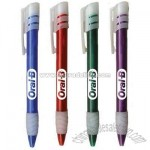 Retractable plastic pen with frosted white rubber clip and grip.
