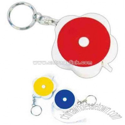 Retractable tape measure with split key ring attached