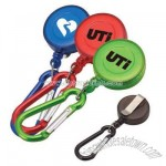 Retractable translucent badge holder with metal carabiner