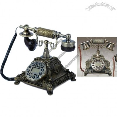 Retro Desktop Resin House Decoration Corded Telephone