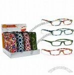 Retro Reading Glasses with Neoprene Case and Display Stand